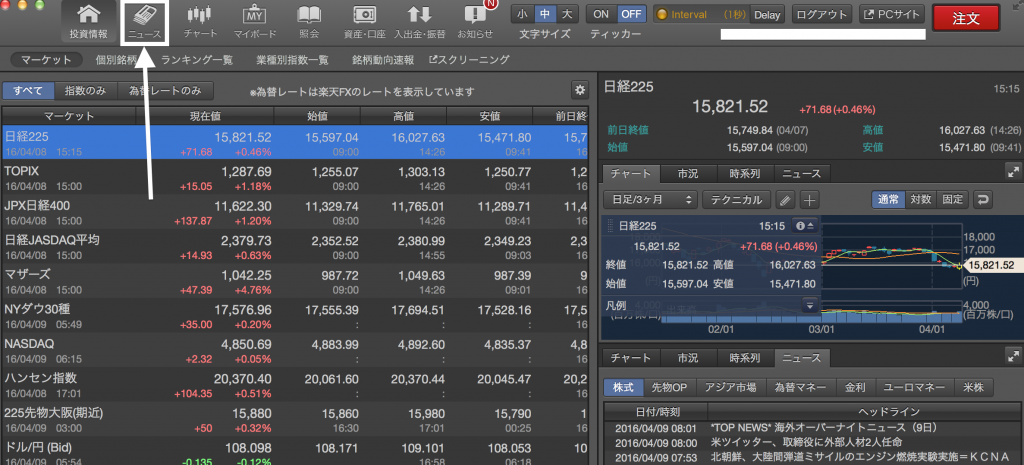 日経新聞「ニュース」タブをクリック
